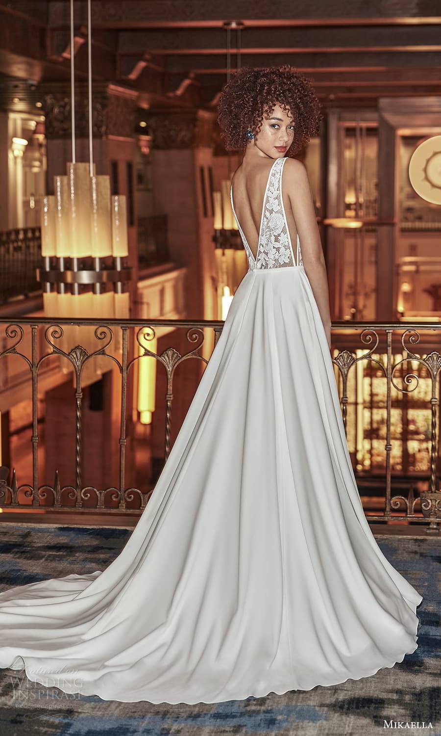 mikaella fall 2021 bridal sleeveless straps plunging v neckline lace bodice clean skirt a line wedding dress chapel train v back (7) bv