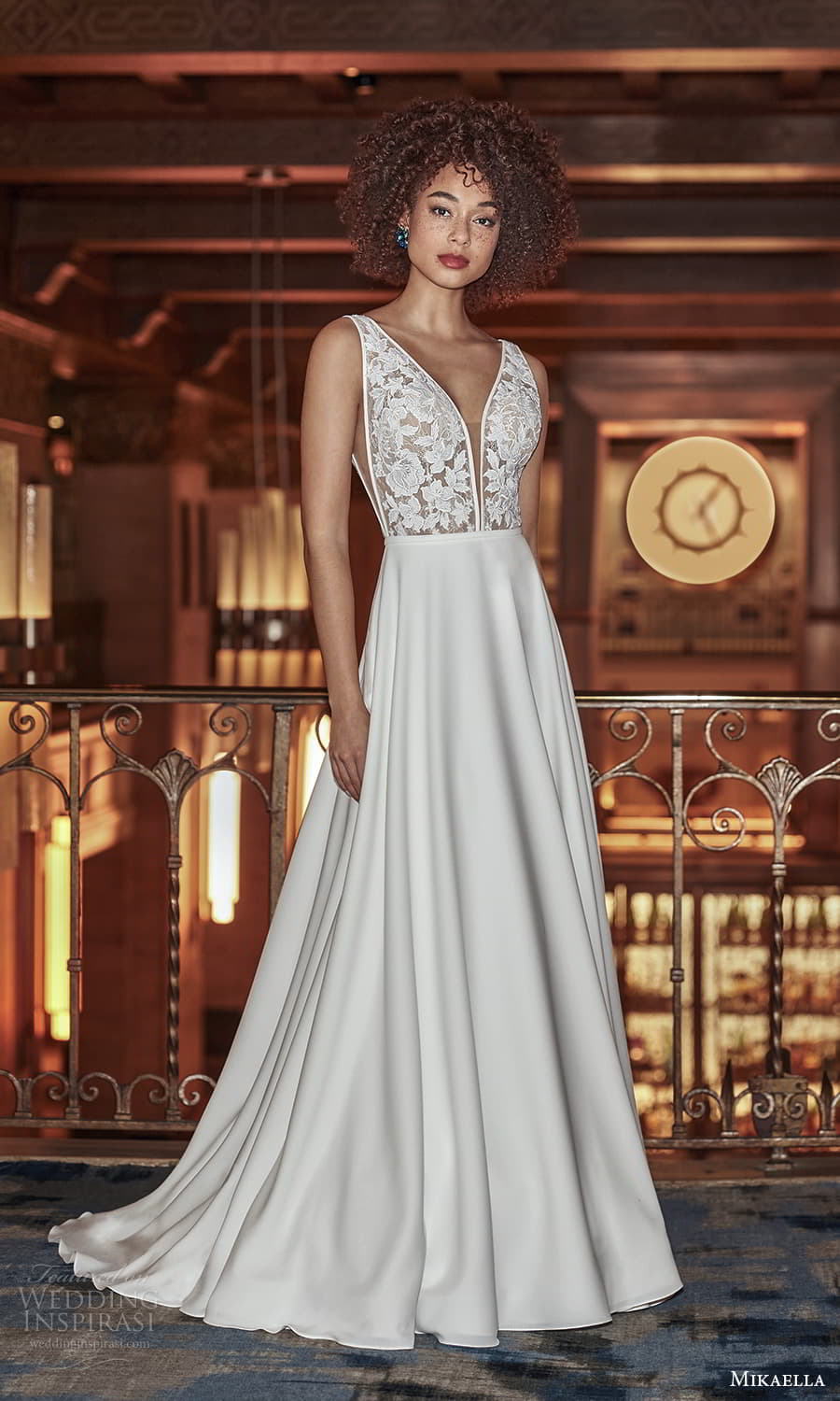 mikaella fall 2021 bridal sleeveless straps plunging v neckline lace bodice clean skirt a line wedding dress chapel train v back (7) mv
