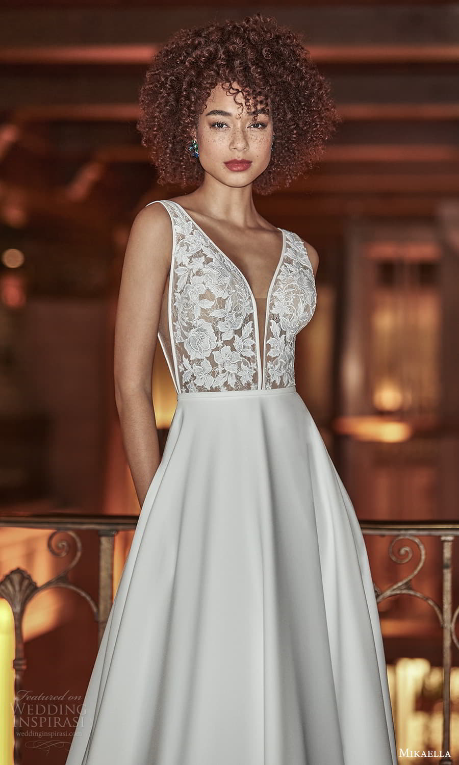 mikaella fall 2021 bridal sleeveless straps plunging v neckline lace bodice clean skirt a line wedding dress chapel train v back (7) zv