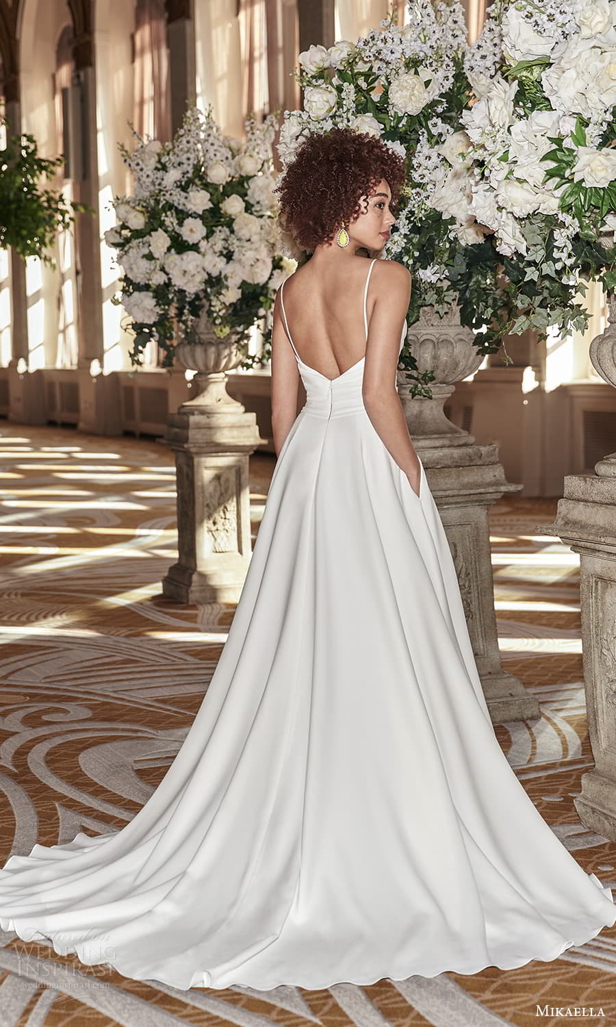 mikaella fall 2021 bridal sleeveless straps surplice neckline ruched bodice clean minimalist a line wedding dress chapel train (9) bv