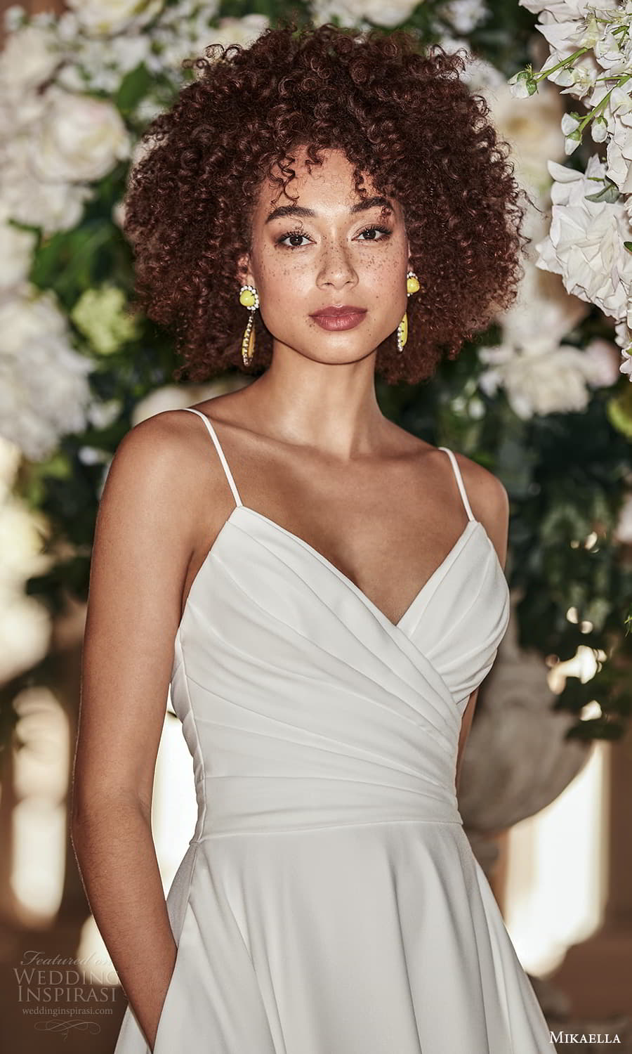 mikaella fall 2021 bridal sleeveless straps surplice neckline ruched bodice clean minimalist a line wedding dress chapel train (9) zv