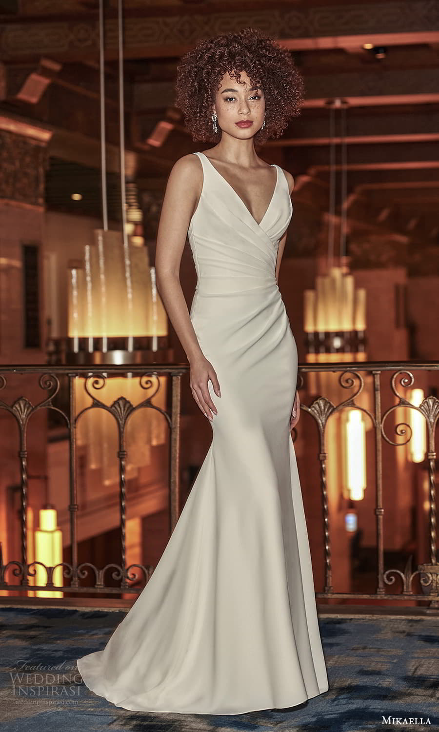 mikaella fall 2021 bridal sleeveless straps surplice v neckline ruched bodice sheath wedding dress chapel train (11) mv