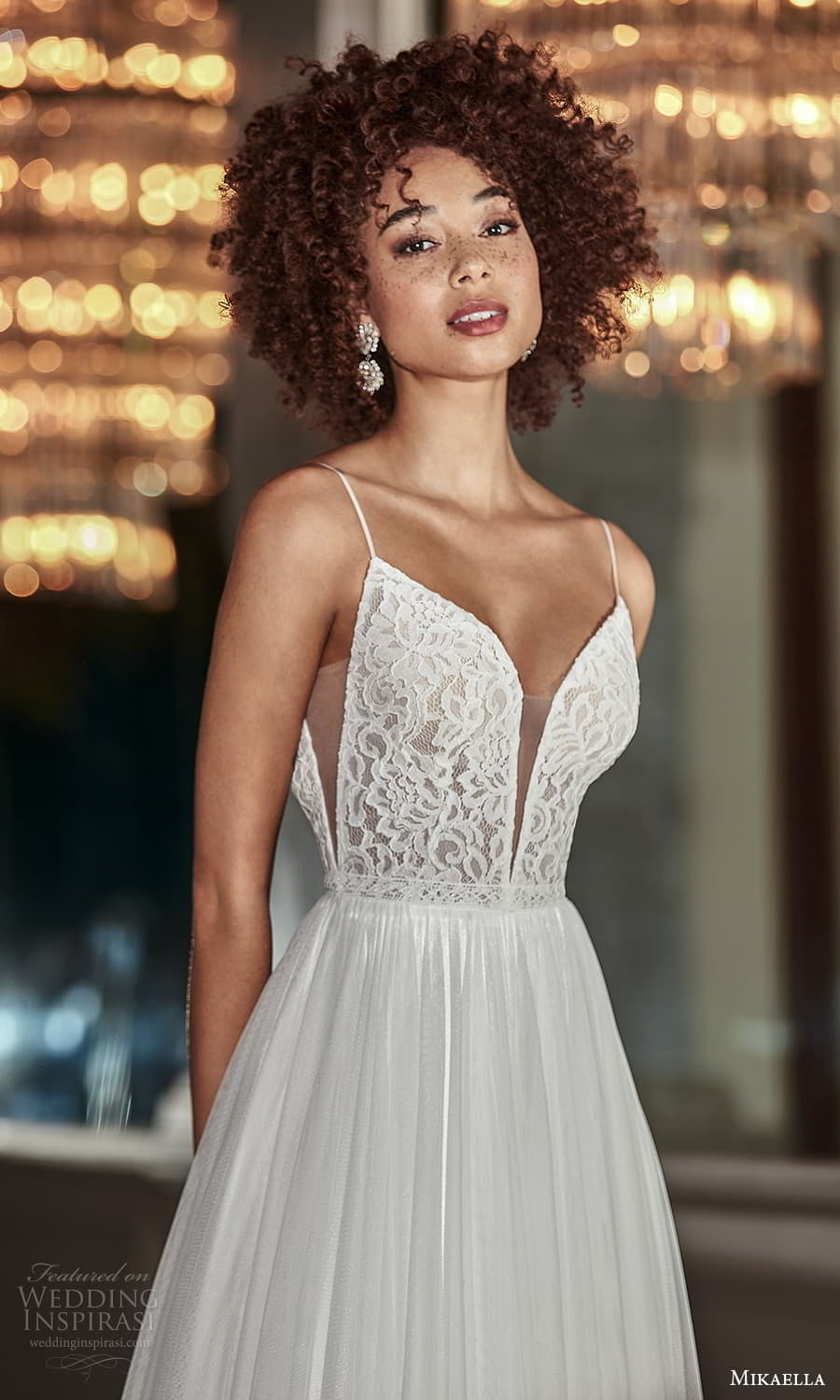 mikaella fall 2021 bridal sleeveless thin straps plunging v neckline lace bodice clean skirt a line wedding dress sweep skirt (8) zv