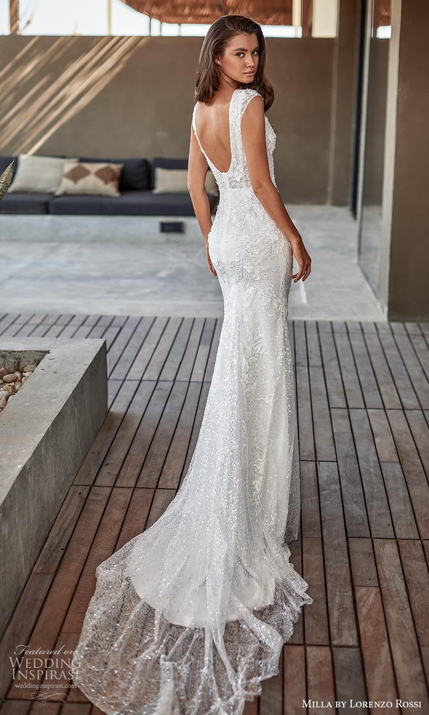milla lorenzo rossi 2022 bridal cap sleeves plunging v neckline fully embellished sheath wedding dress chapel train (11) bv