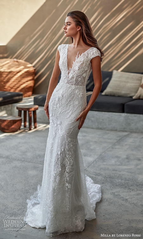 milla lorenzo rossi 2022 bridal cap sleeves plunging v neckline fully embellished sheath wedding dress chapel train (11) mv