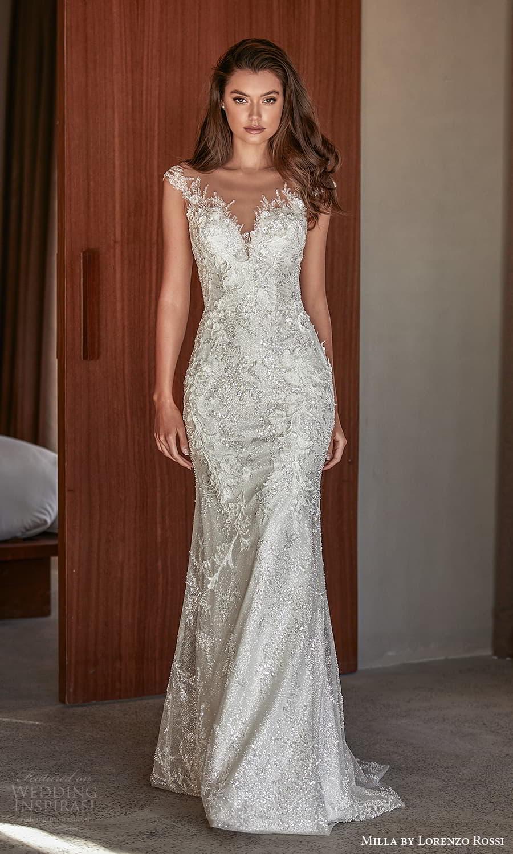 milla lorenzo rossi 2022 bridal cap sleeves sweetheart neckline fully embellished sheath wedding dress chapel train (13) mv
