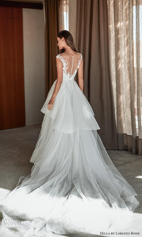 milla lorenzo rossi 2022 bridal cap sleeves sweetheart neckline fully embellished sheath wedding dress chapel train ball gown overskirt (13) bv