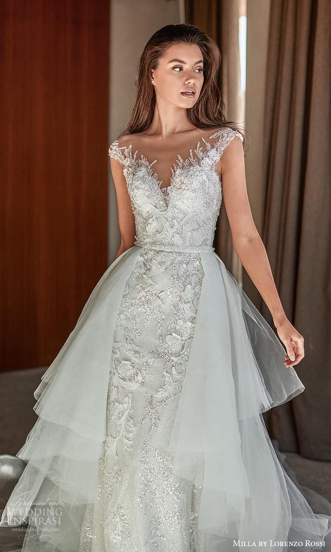 milla lorenzo rossi 2022 bridal cap sleeves sweetheart neckline fully embellished sheath wedding dress chapel train ball gown overskirt (13) mv