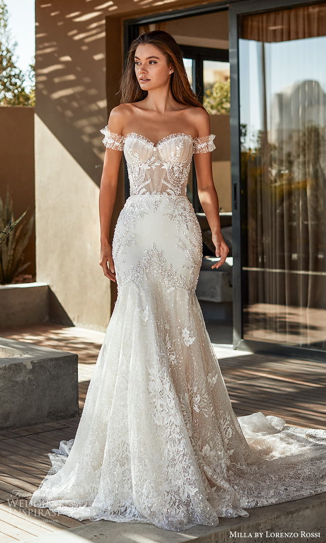 milla lorenzo rossi 2022 bridal detached straps strapless sweetheart neckline fully embellished fit flare mermaid wedding dress chapel train (4) mv