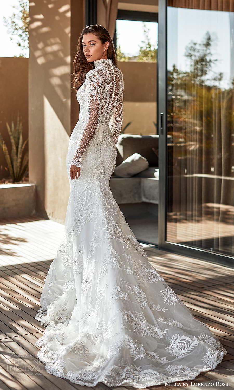 milla lorenzo rossi 2022 bridal long sleeves high neckline fully embellished sheath wedding dress chapel train (2) bv