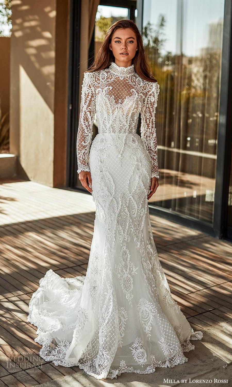 milla lorenzo rossi 2022 bridal long sleeves high neckline fully embellished sheath wedding dress chapel train (2) mv