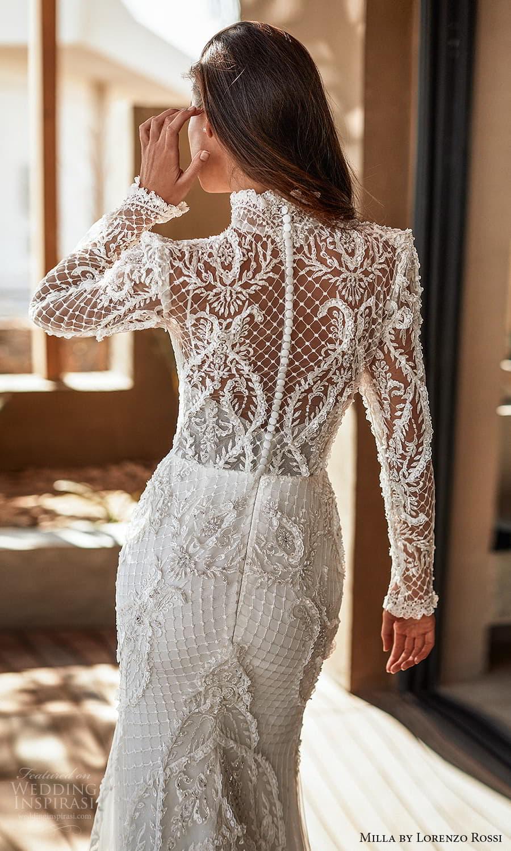milla lorenzo rossi 2022 bridal long sleeves high neckline fully embellished sheath wedding dress chapel train (2) zbv