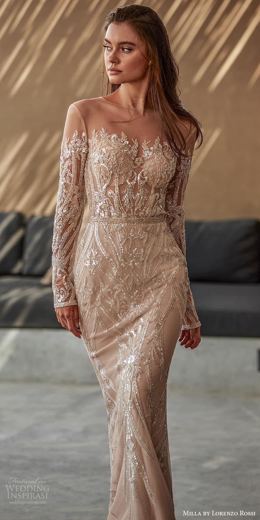 milla lorenzo rossi 2022 bridal long sleeves sweetheart neckline fully embellished sheath wedding dress sweep train (10) mv