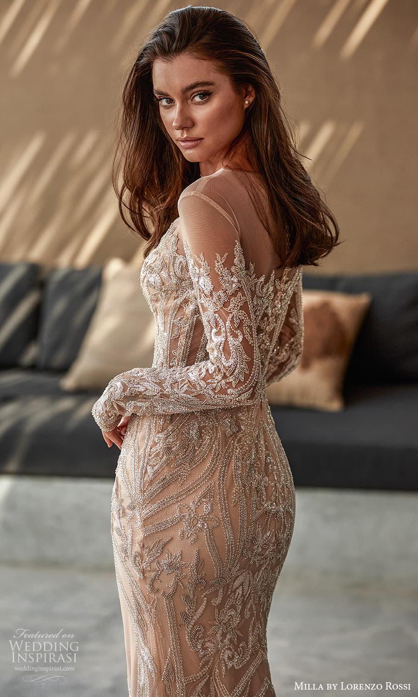 milla lorenzo rossi 2022 bridal long sleeves sweetheart neckline fully embellished sheath wedding dress sweep train (10) zbv