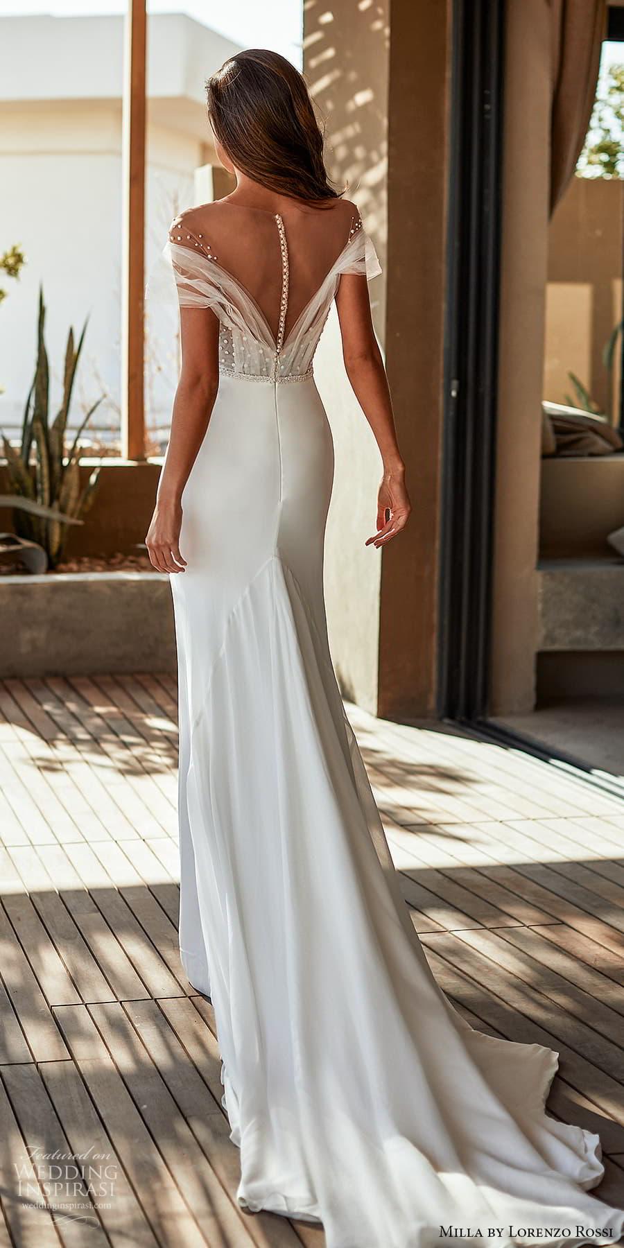 milla lorenzo rossi 2022 bridal off shoulder short sleeves sweetheart neckline embellished bodice clean skirt sheath wedding dress chapel train (3) bv