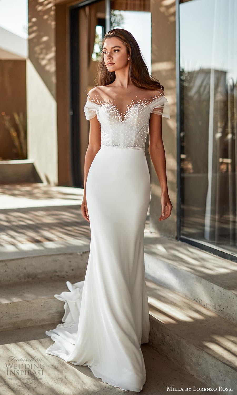 milla lorenzo rossi 2022 bridal off shoulder short sleeves sweetheart neckline embellished bodice clean skirt sheath wedding dress chapel train (3) mv
