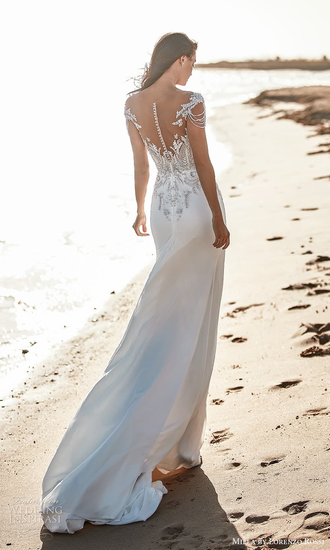 milla lorenzo rossi 2022 bridal off shoulder straps sweetheart neckline heavily embellished bodice clean skirt sheath wedding dress chapel train (17) bv