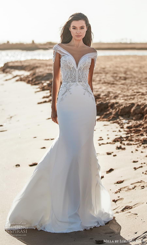 milla lorenzo rossi 2022 bridal off shoulder straps sweetheart neckline heavily embellished bodice clean skirt sheath wedding dress chapel train (17) mv