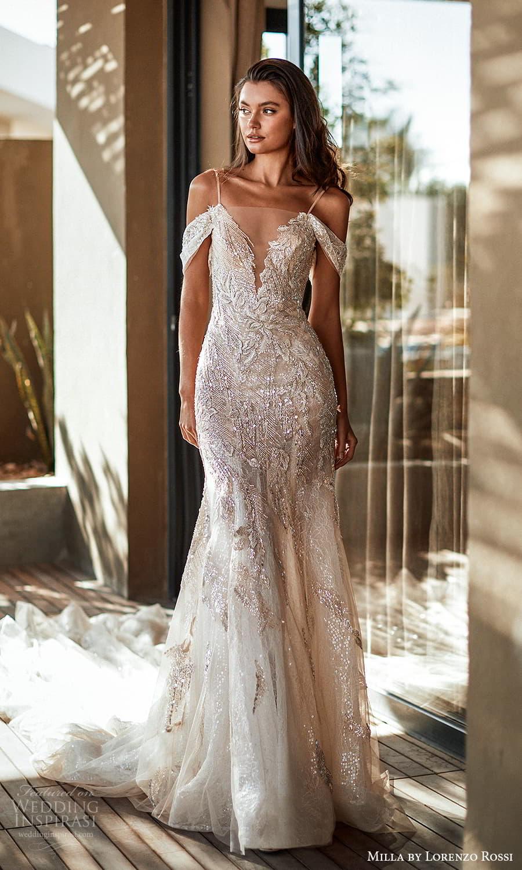 milla lorenzo rossi 2022 bridal off shoulder swag straps sleeves plunging v neckline sheath trumpet modified a line wedding dress chapel train (1) mv