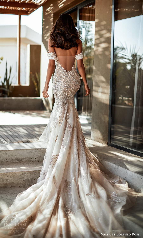 milla lorenzo rossi 2022 bridal off shoulder swag straps sleeves plunging v neckline sheath trumpet modified a line wedding dress chapel train low back (1) bv