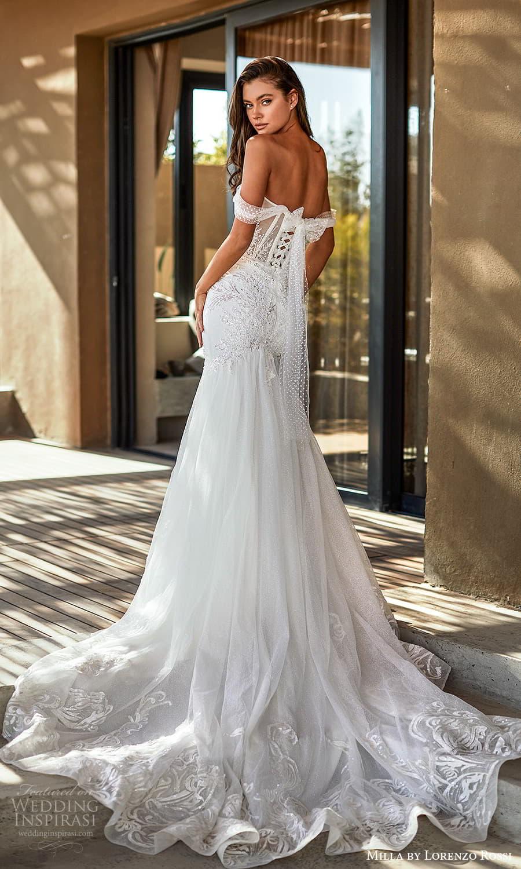 milla lorenzo rossi 2022 bridal off shoulder swag straps sweetheart neckline fully embellished fit flare mermaid wedding dress chapel train (5) bv