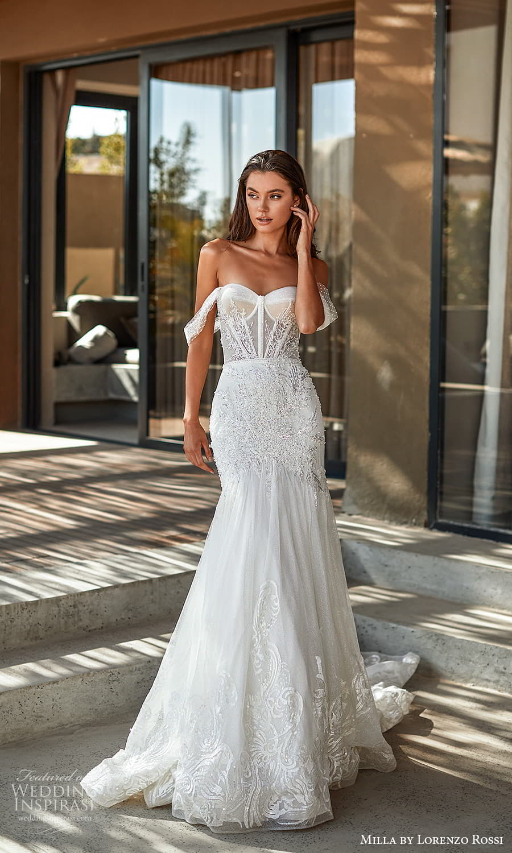 milla lorenzo rossi 2022 bridal off shoulder swag straps sweetheart neckline fully embellished fit flare mermaid wedding dress chapel train (5) mv