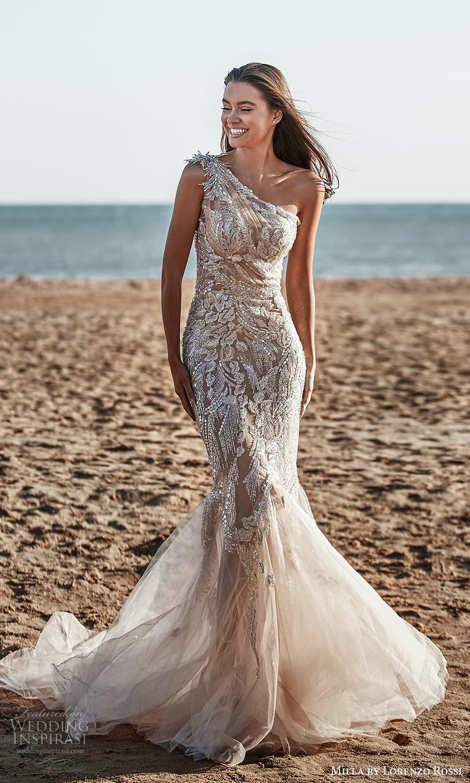 milla lorenzo rossi 2022 bridal one shoulder asymmetric neckline fully embellished sheath wedding dress chapel train (16) mv