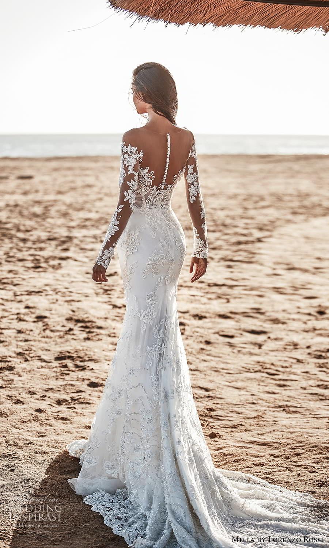 milla lorenzo rossi 2022 bridal sheer long sleeves sweetheart neckline fully embellished lace sheath wedding dress chapel train (15) bv
