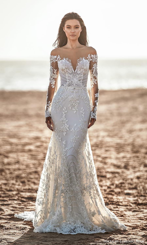milla lorenzo rossi 2022 bridal sheer long sleeves sweetheart neckline fully embellished lace sheath wedding dress chapel train (15) mv