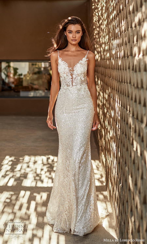 milla lorenzo rossi 2022 bridal sleeveless straps plunging sweetheart neckline fully embellished sheath wedding dress sweep train (7) mv