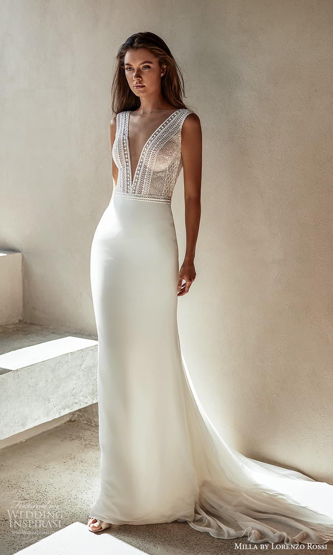milla lorenzo rossi 2022 bridal sleeveless straps plunging v neckline embellished bodice clean skirt sheath wedding dress chapel train (12) mv