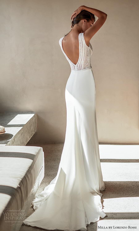 milla lorenzo rossi 2022 bridal sleeveless straps plunging v neckline embellished bodice clean skirt sheath wedding dress chapel train v back (12) bv