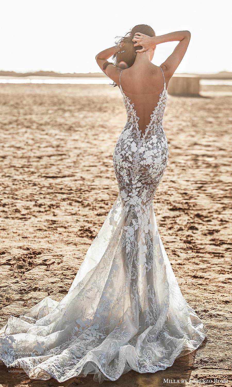 milla lorenzo rossi 2022 bridal sleeveless straps plunging v neckline fully embellished sheath wedding dress chapel train (14) bv
