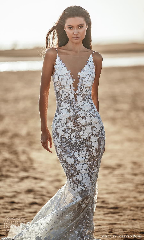 milla lorenzo rossi 2022 bridal sleeveless straps plunging v neckline fully embellished sheath wedding dress chapel train (14) mv