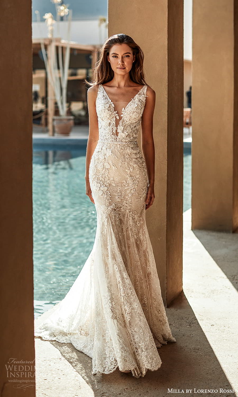 milla lorenzo rossi 2022 bridal sleeveless straps plunging v neckline fully embellished sheath wedding dress chapel train (8) mv