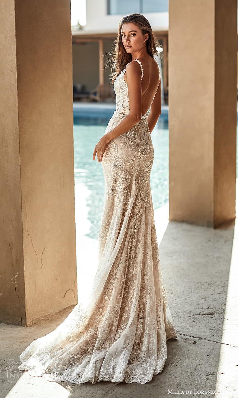 milla lorenzo rossi 2022 bridal sleeveless straps plunging v neckline fully embellished sheath wedding dress chapel train low back (8) bv