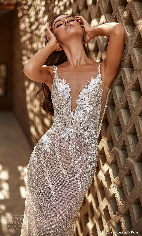 milla lorenzo rossi 2022 bridal sleeveless straps sweetheart neckline embellished bodice sheath wedding dress chapel train (6) zv