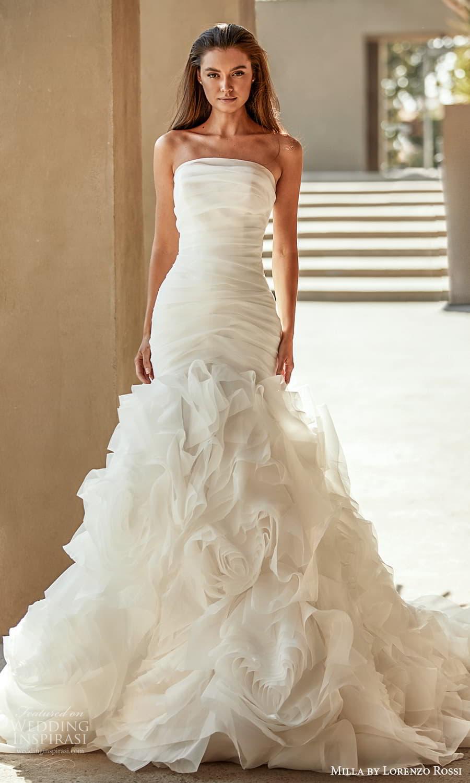 milla lorenzo rossi 2022 bridal strapless straight across neckline ruched bodice flange ruffle skirt fit flare mermaid wedding dress chapel train (9) mv