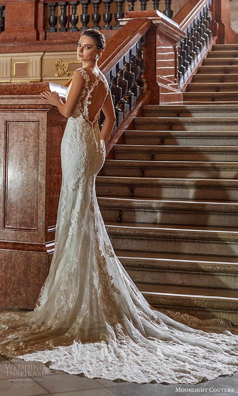 moonlight couture fall 2021 bridal cap sleeves off shoulder sweetheart neckline embellished sheath wedding dress chapel train (4) bv