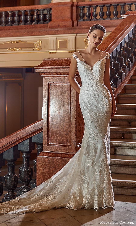 moonlight couture fall 2021 bridal cap sleeves off shoulder sweetheart neckline embellished sheath wedding dress chapel train (4) mv
