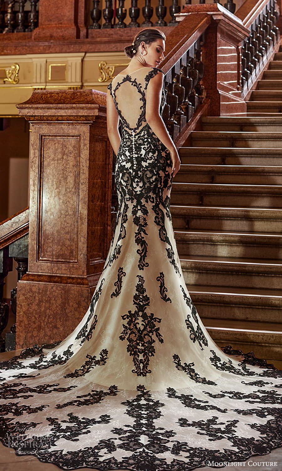 moonlight couture fall 2021 bridal cap sleeves off shoulder sweetheart neckline fully embellished black lace sheath wedding dress chapel train (5) bv