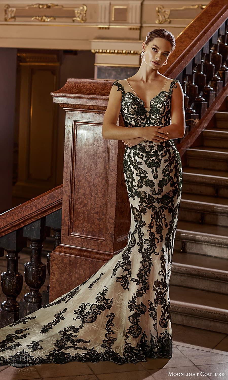 moonlight couture fall 2021 bridal cap sleeves off shoulder sweetheart neckline fully embellished black lace sheath wedding dress chapel train (5) mv