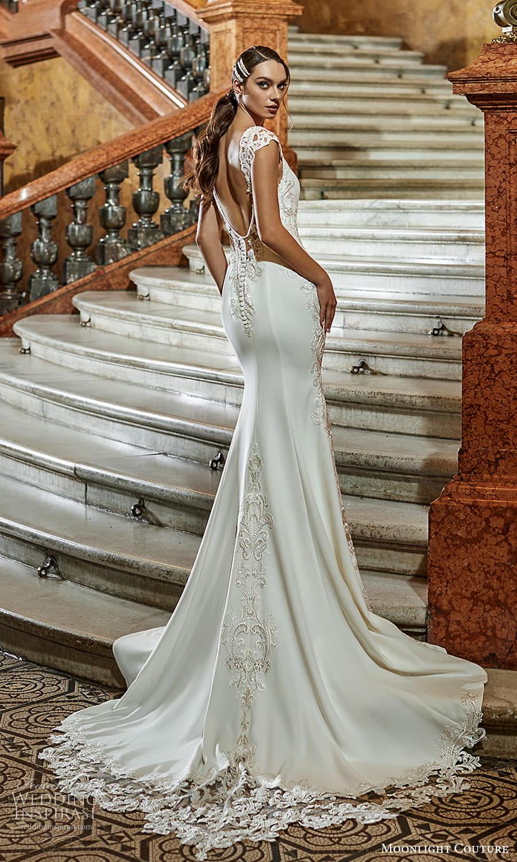 moonlight couture fall 2021 bridal cap sleeves v neckline embellished waist clean minimalist sheath wedding dress chapel train (3) bv