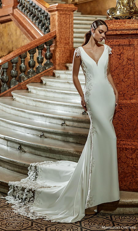 moonlight couture fall 2021 bridal cap sleeves v neckline embellished waist clean minimalist sheath wedding dress chapel train (3) mv