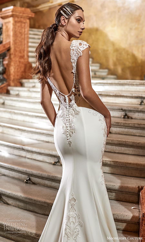 moonlight couture fall 2021 bridal cap sleeves v neckline embellished waist clean minimalist sheath wedding dress chapel train (3) zbv