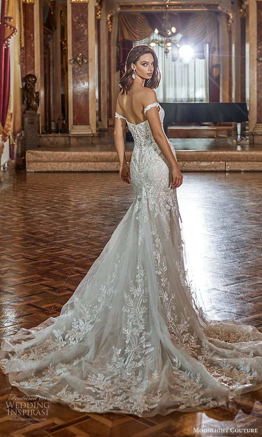 moonlight couture fall 2021 bridal off shoulder straps sweetheart neckline fully embellished lace sheath wedding dress chapel train (12) bv