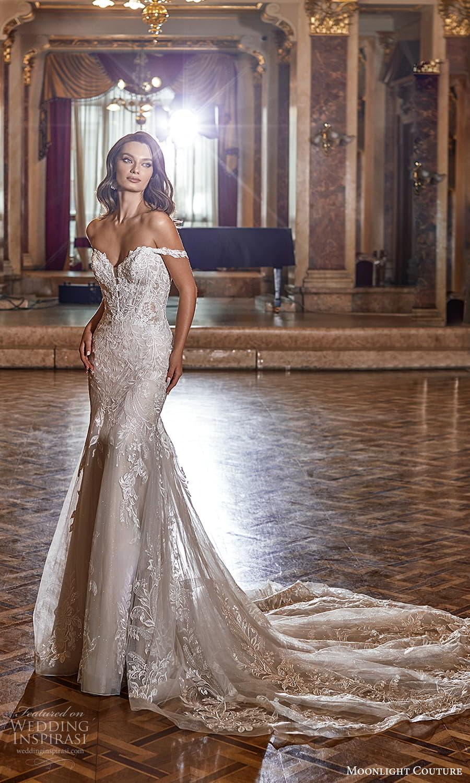 moonlight couture fall 2021 bridal off shoulder straps sweetheart neckline fully embellished lace sheath wedding dress chapel train (12) mv