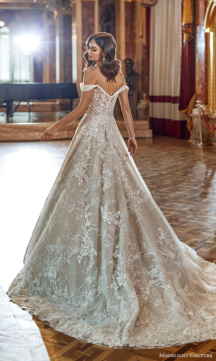 moonlight couture fall 2021 bridal off shoulder straps sweetheart neckline heavily embellished bodice a line ball gown wedding dress chapel trian (1) bv
