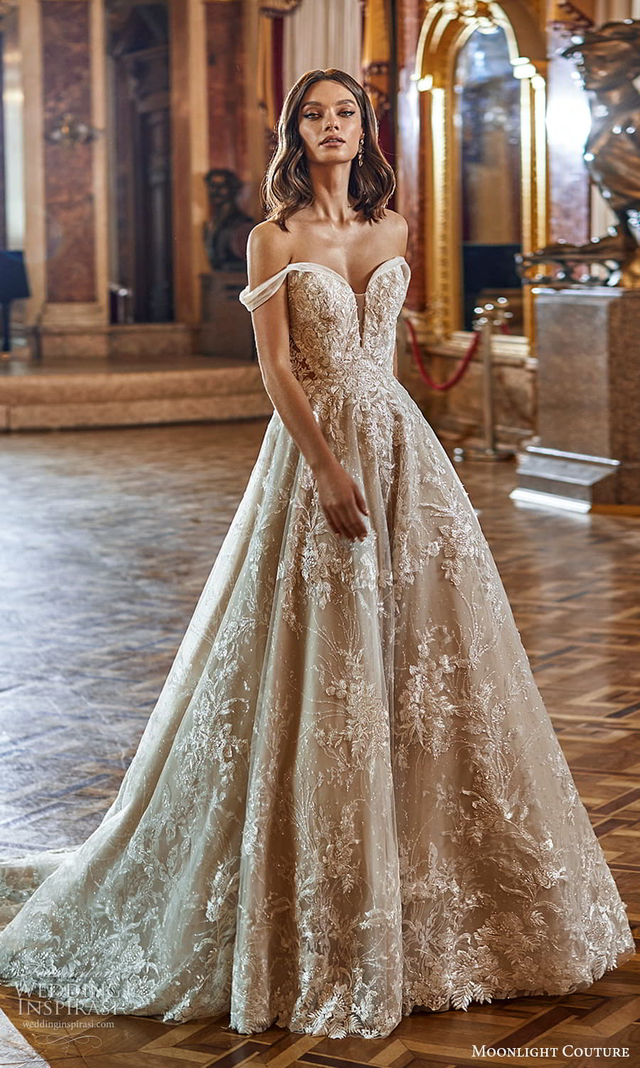 moonlight couture fall 2021 bridal off shoulder straps sweetheart neckline heavily embellished bodice a line ball gown wedding dress chapel trian (1) mv