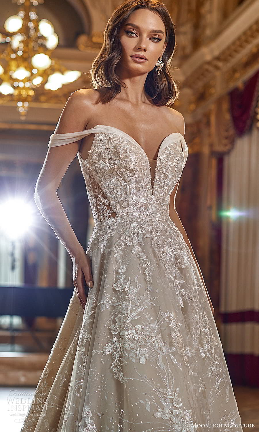 moonlight couture fall 2021 bridal off shoulder straps sweetheart neckline heavily embellished bodice a line ball gown wedding dress chapel trian (1) zv